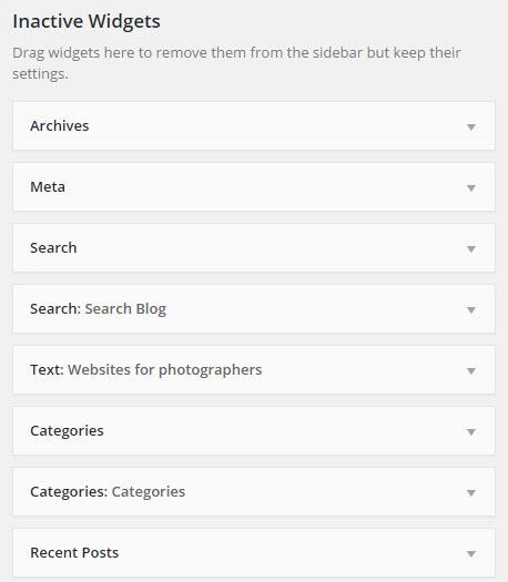 inactive widgets