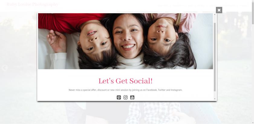 Pop-up box example of social media links.